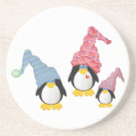 Penguins With Hats Beverage Coaster