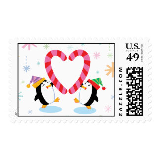 Penguins with Heart Shaped Candy Canes Postage