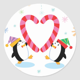 Penguins with Heart Shaped Candy Canes Stickers