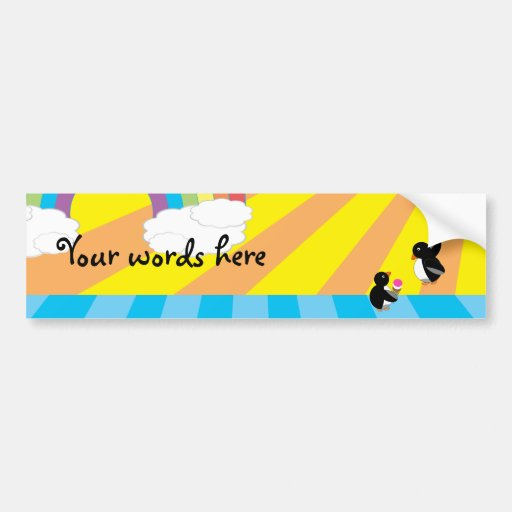 Penguins with ice cream and balloons bumper sticker