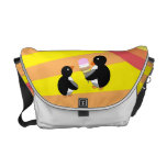 Penguins with ice cream and rainbow messenger bags
