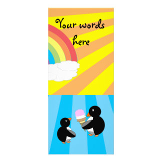 Penguins with ice cream and rainbow personalized rack card