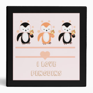 Penguins With Ice Cream & Stars Notebook Binders