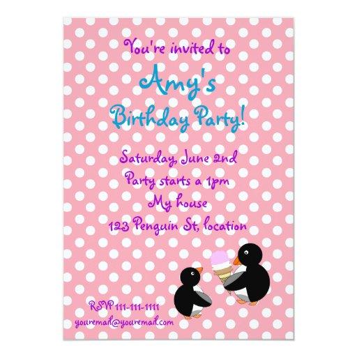 Penguins with ice creamon pin  birthday invitation