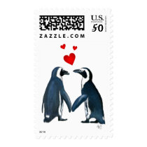 Penguins With Love Hearts Postage