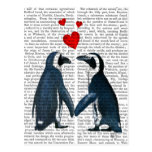 Penguins With Love Hearts Postcard
