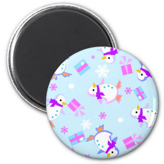 penguins with presents 2 inch round magnet