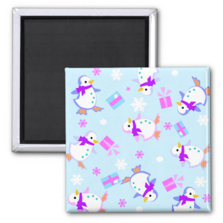 penguins with presents 2 inch square magnet