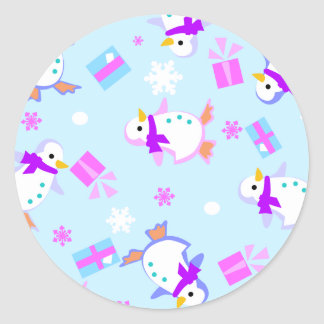 penguins with presents classic round sticker