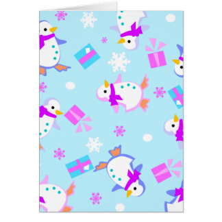penguins with presents greeting card