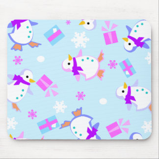 penguins with presents mouse pad