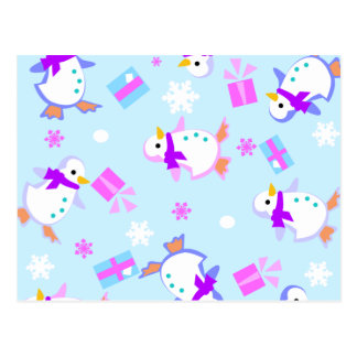 penguins with presents postcard