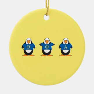 Penguins with Shirts Ceramic Ornament