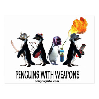 penguins with weapons postcard
