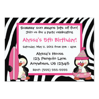 "Penguins Zebra Print Girls Birthday Invitation 5"" X 7"" Invitation Card"
