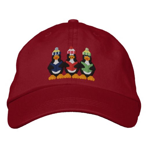 Pengun Carolers Embroidered Baseball Hat