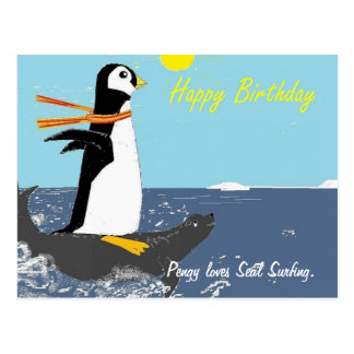 Pengy Loves Seal Surfing. Postcard