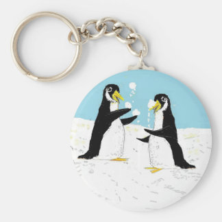 Pengy Penguin, Snowball Juggling Basic Round Button Keychain
