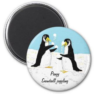 Pengy Penguin, snowball juggling Fridge Magnets