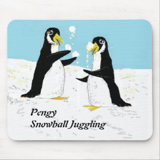 Pengy Penguin, snowball juggling Mouse Pad