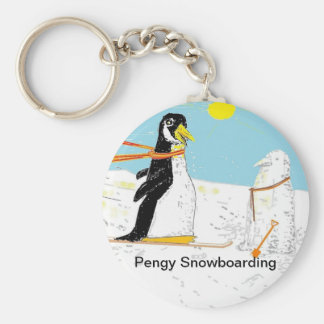 Pengy Snowboarding Keychain