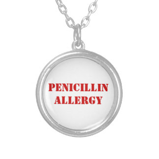 PENICILLIN ALLERGY SILVER PLATED NECKLACE