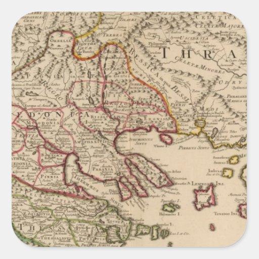Península balcánica, Grecia, Macedonia 3 Pegatina Cuadrada