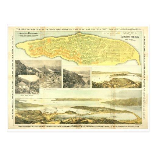 Península del belvedere, el condado de Marin, CA 1 Tarjetas Postales