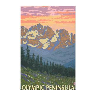 Península olímpica, flores de WashingtonSpring Impresión En Lienzo