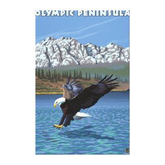 Península olímpica, WashingtonFishing Eagle Impresión En Lienzo