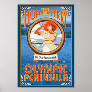 Península olímpica, WashingtonHop el transbordador Póster