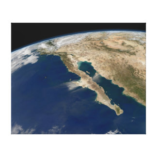 Península por satélite México de Baja de la imagen Impresión En Lienzo