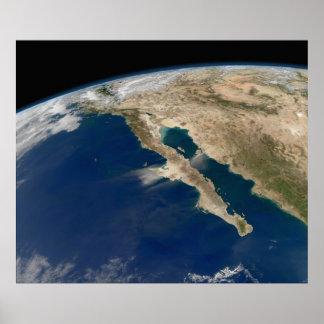 Península por satélite México de Baja de la imagen Póster