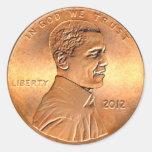 Penique 2012 de Barack Obama Pegatinas Redondas