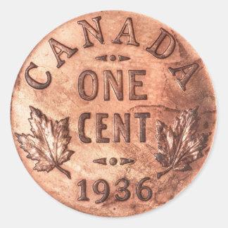 Penique canadiense pegatina redonda
