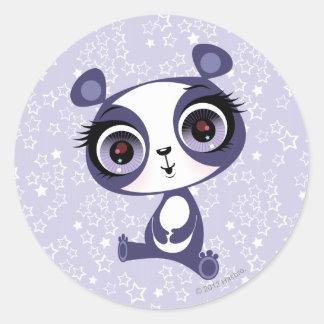 Penique la panda dulce etiqueta redonda