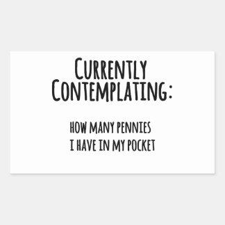 Peniques en mi bolsillo rectangular pegatina