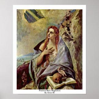 Penitent Maria Magdalena por el EL de Greco Impresiones