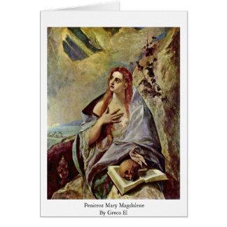 Penitent Maria Magdalena por el EL de Greco Tarjetón