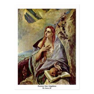 Penitent Maria Magdalena por el EL de Greco Tarjetas Postales