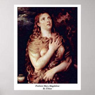 Penitent Maria Magdalena por Titian Poster