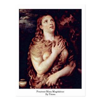 Penitent Maria Magdalena por Titian Tarjeta Postal