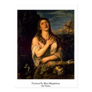 Penitent St Mary Magdalena por Titian Postales