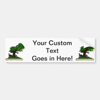 Penjing bonsai upright tree with rock in tray bumper sticker