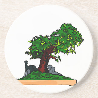 Penjing bonsai upright tree with rock in tray beverage coaster