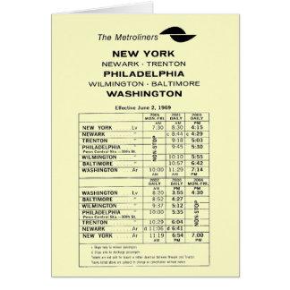 Penn Central Railroad Metroliner Timetable Card