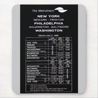 Penn Central Railroad Metroliner Timetable Mouse Pad