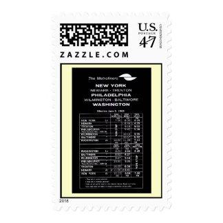Penn Central Railroad Metroliner Timetable Postage Stamp