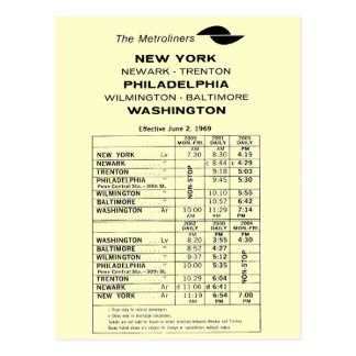Penn Central Railroad Metroliner Timetable Postcard