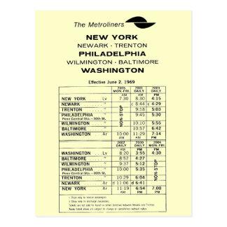 Penn Central Railroad Metroliner Timetable Postcard